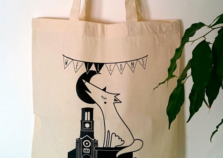 sac en toile imprime illustration moderne graphisme ville la louviere