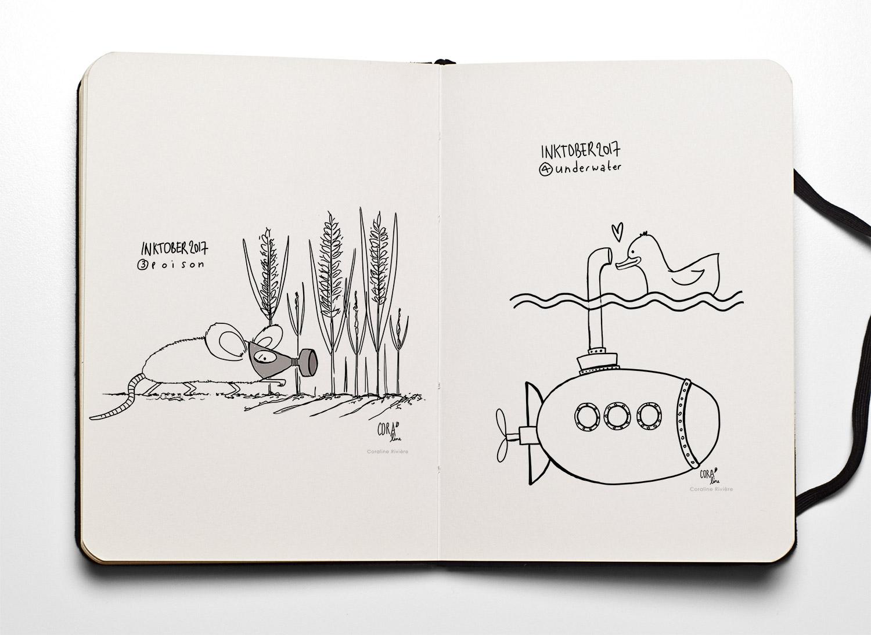 02 dessins inktober coraline riviere poison underwater sous marin