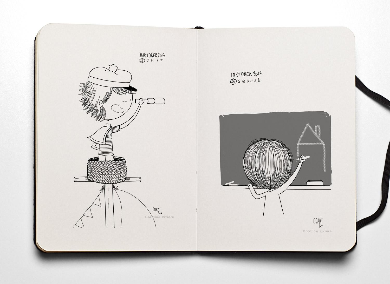 13 dessins inktober coraline riviere ship navire squeak navire