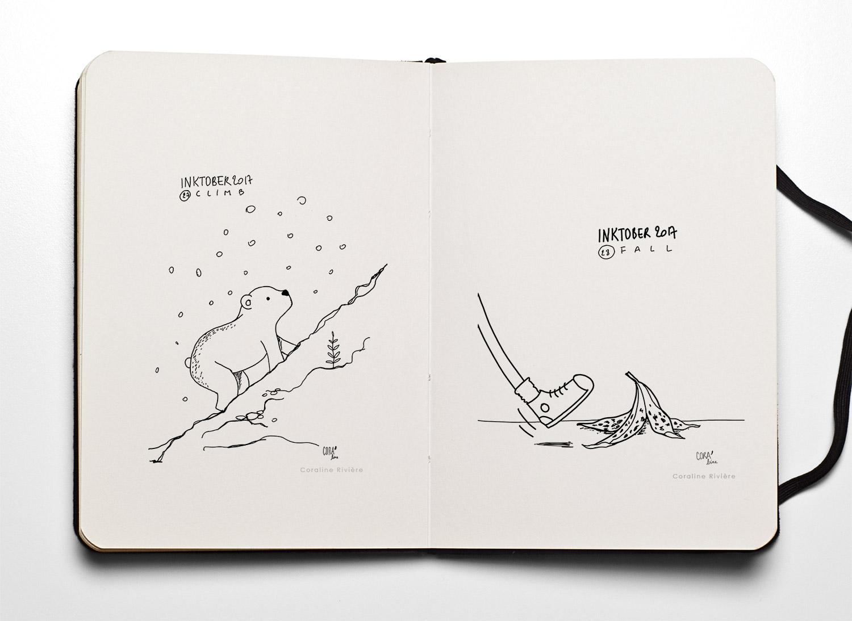 14 dessins inktober coraline riviere climb montee fall tomber