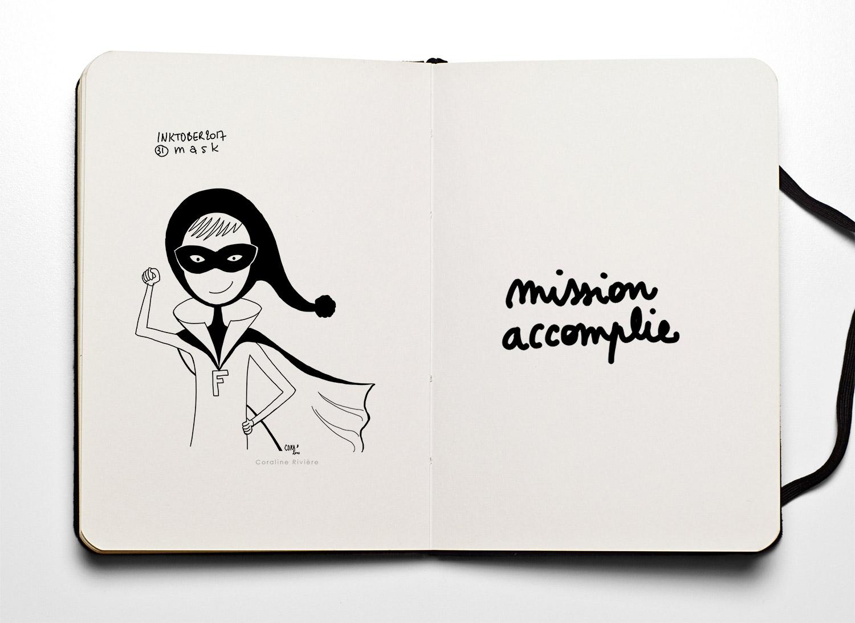 16 dessins inktober coraline riviere mask masque