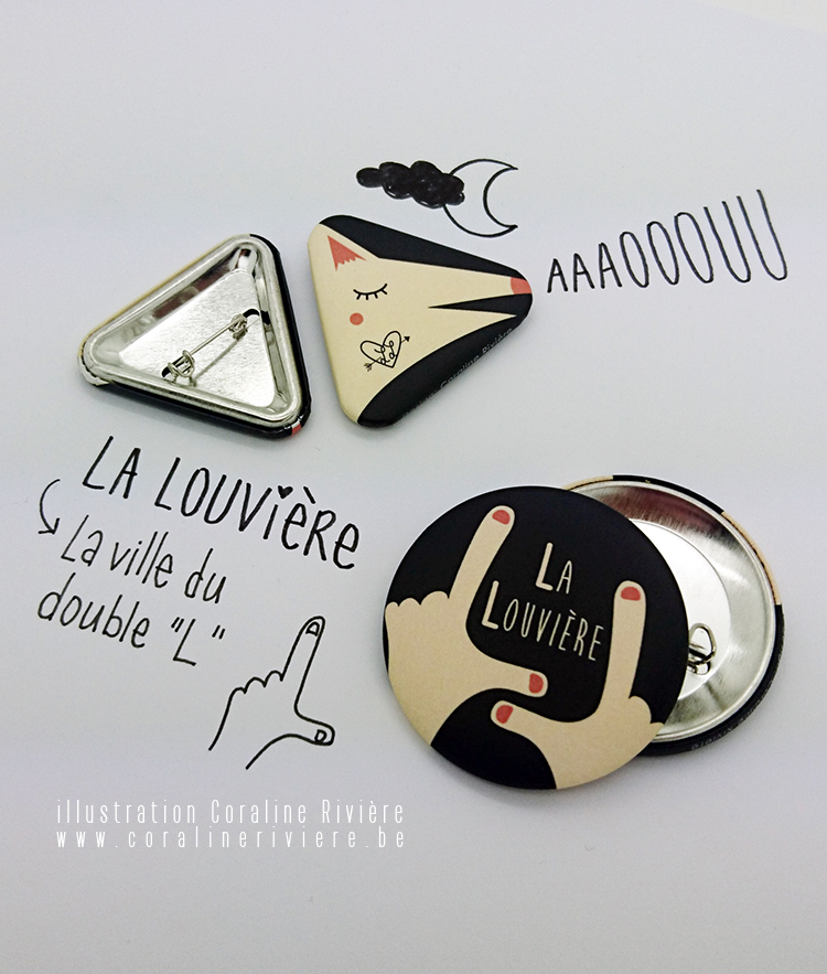 FB badges la louvière louve signe doigt main L ville du double L dessin louve