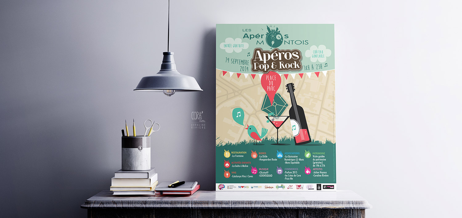 affiche aperos montois graphisme rock and roll guitare apero carte ville mons style retro
