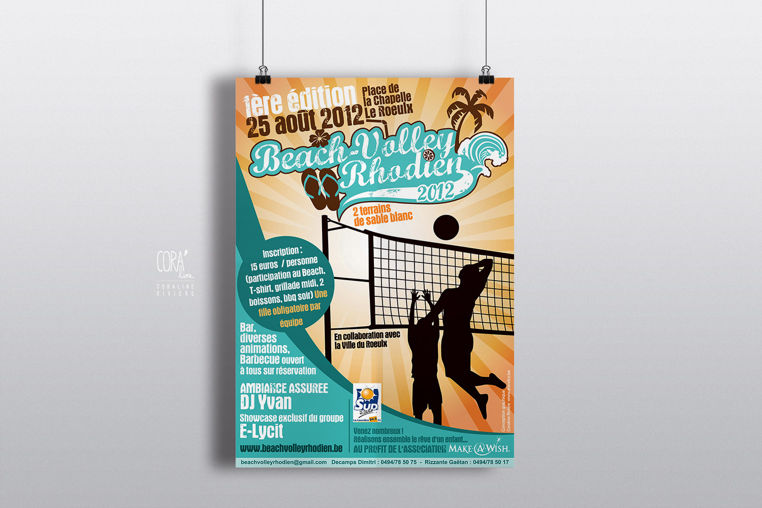 affiche beach volley rhodien tournoi volley ball sable ete