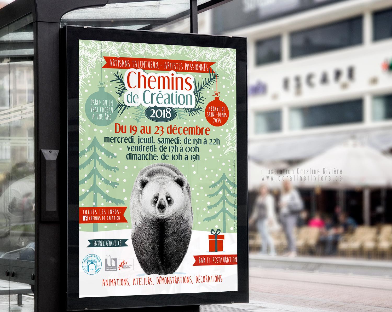affiche chemins de creation marche createurs artisans noel decembre idees cadeaux original local
