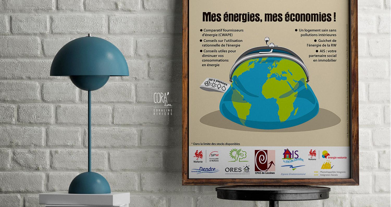 affiche journee energie lessines mappemonde forme porte monnaie reduction energie economies sauver planete