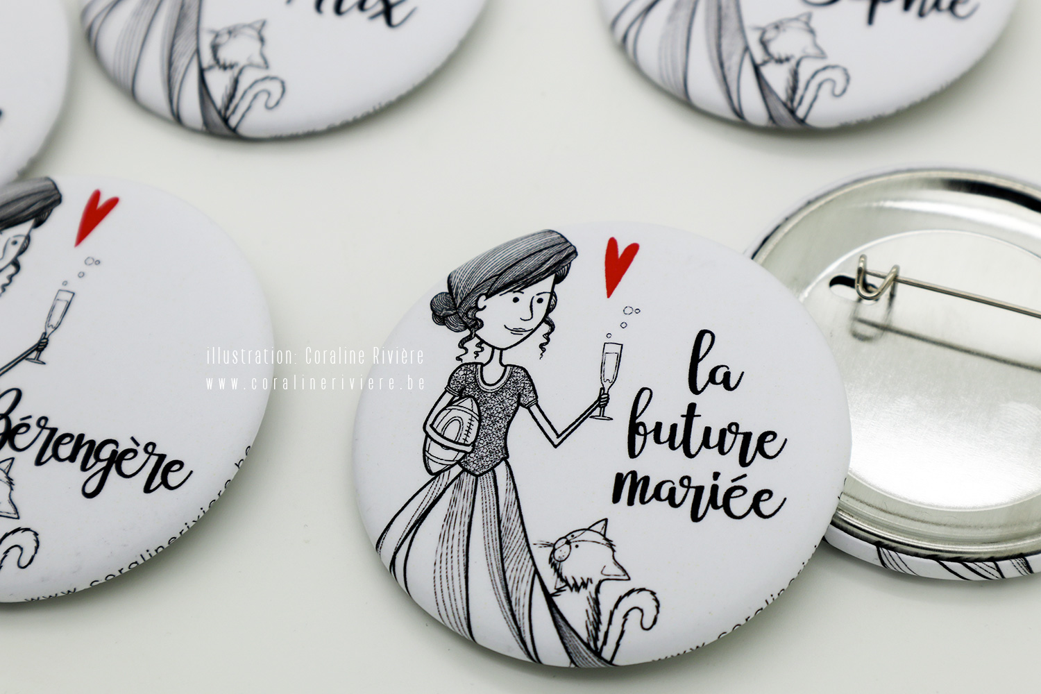 badge illustration future mariee coiffure chignon robe ballon rugby chat