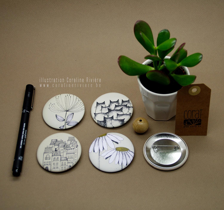 badge mat dessin noir blanc poesie maisons fleurs plantes margeurites