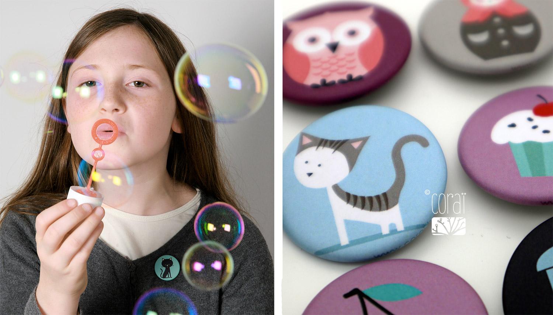 badges enfant 32mm mat graphismes colores creation corai coraline riviere1