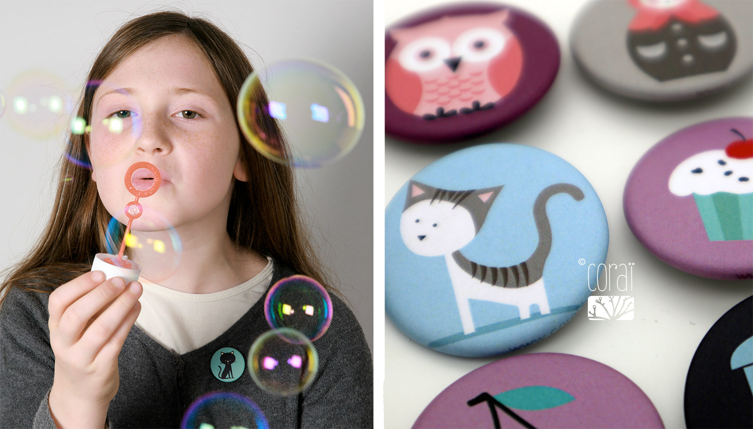 badges enfant 32mm mat graphismes colores creation corai coraline riviere2