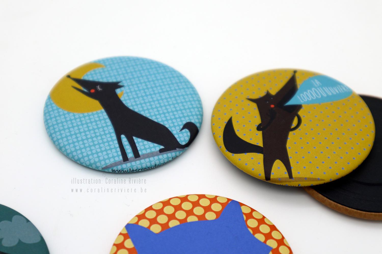 badges pour office tourisme la louviere graphisme symbole louve couleurs peps motifs