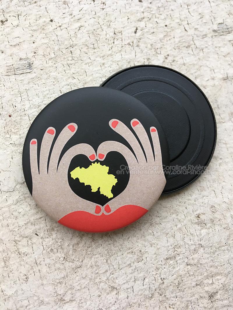 belgitude coeur main Belgique noir jaune rouge magnet aimant frigo