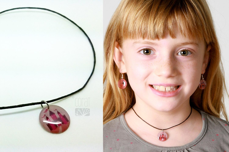 bijoux corai collection enfant petite fee princesse chateau rose mauve1