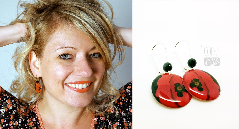 bijoux createur corai coraline riviere boucles oreilles coquelicot rouge noir2