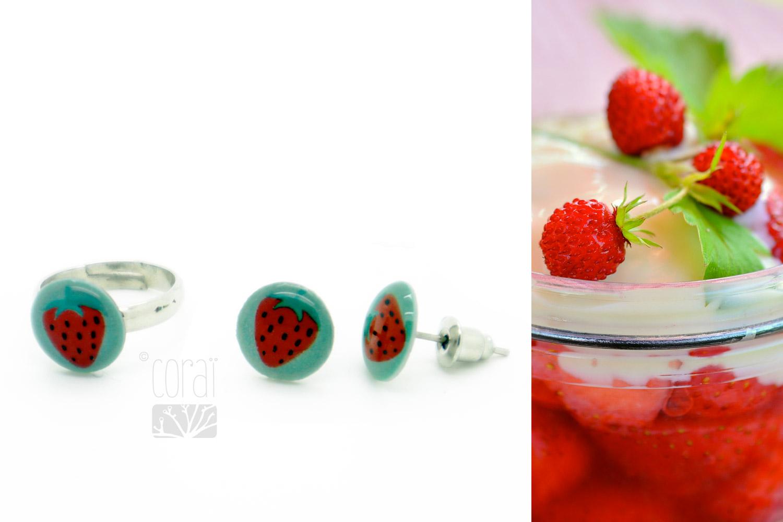bijoux enfant collection corai fraise bague boucles oreilles1