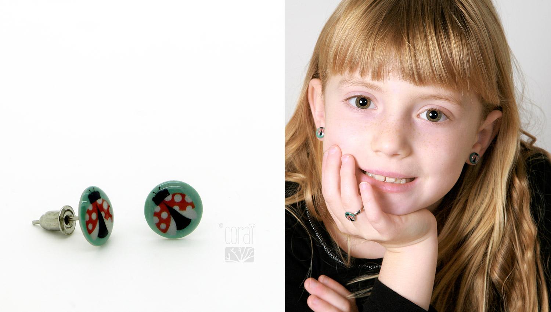 boucles oreilles bague enfant illustration coccinelle turquoise1