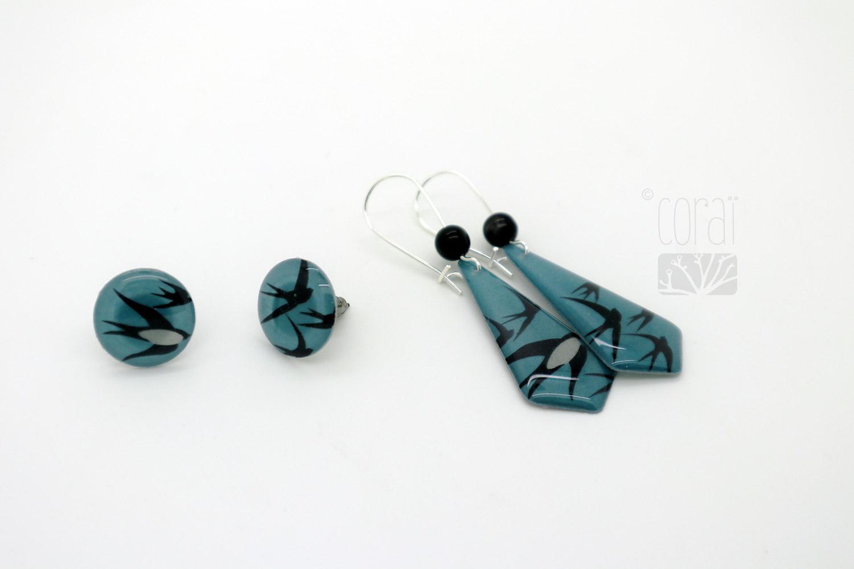 boucles oreilles envolee oiseaux hirondelles dans ciel bleu bijoux corai2