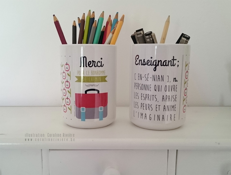 cadeau enseignant professeur fin annee remerciement original pot a crayons