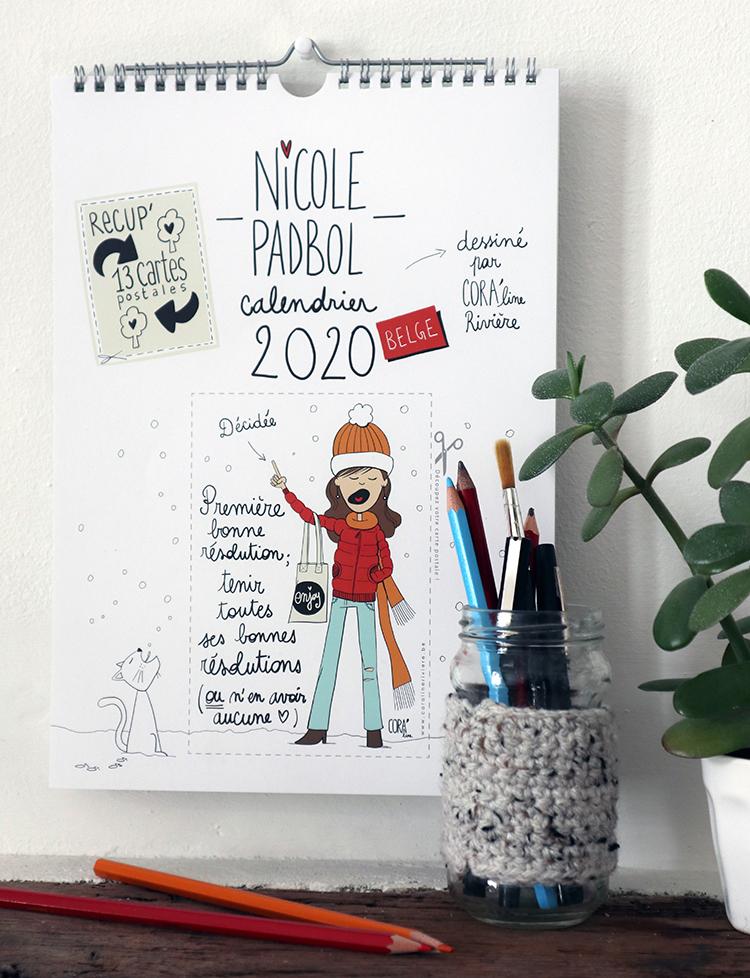 calendrier coraline riviere 2020 nicole padbol dessins humoristiques