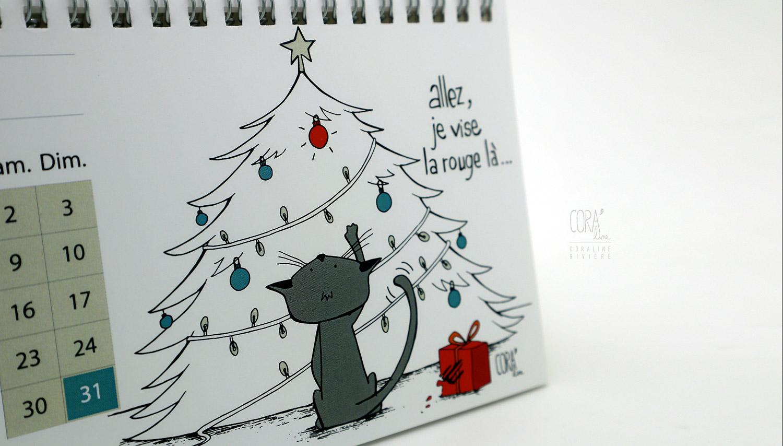 calendrier illustration chat humour scene vie quotidienne avec humain1