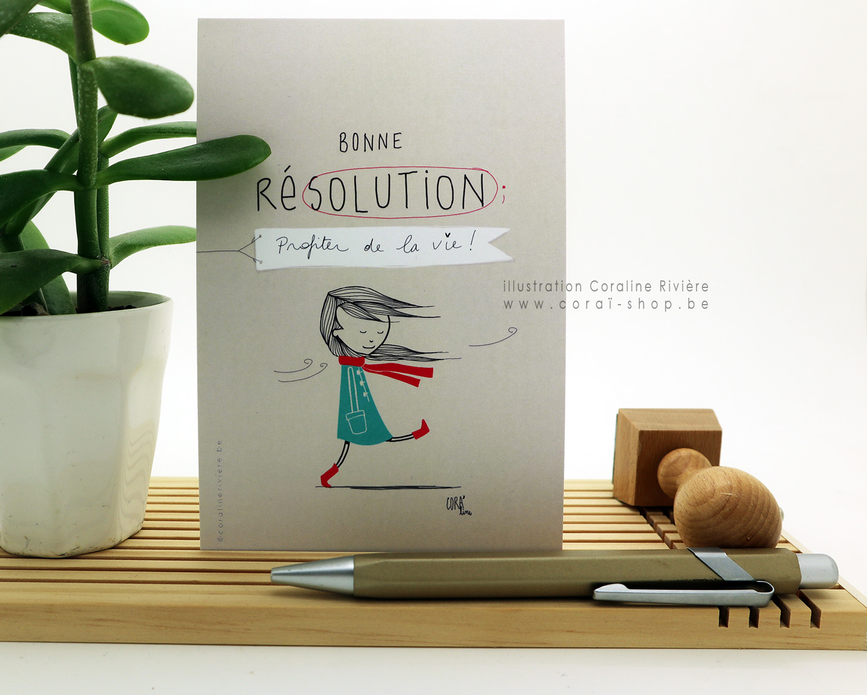 carte de voeux bonne resolution profiter de la vie