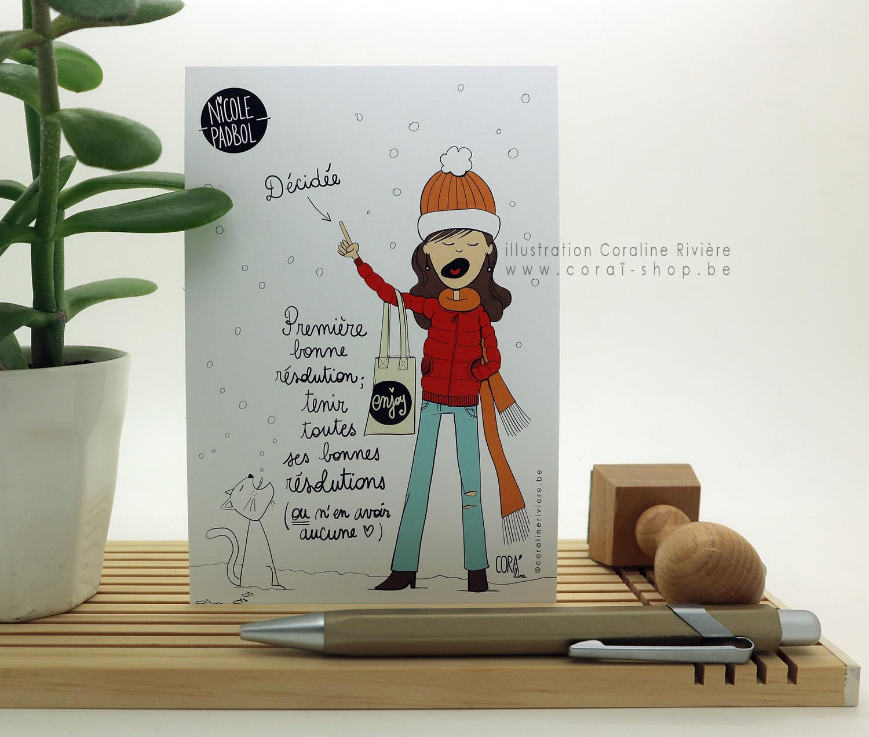 carte de voeux nicole padbol premiere bonne resolution tenir toutes ses bonnes resolutions dessin humour