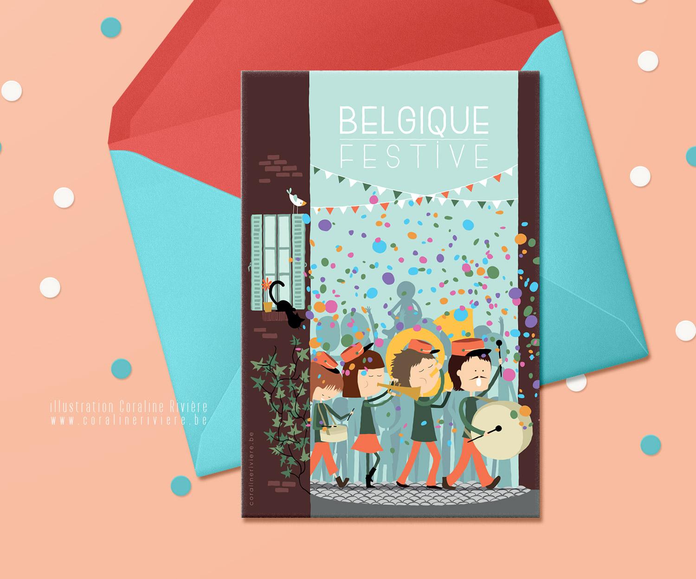 carte fete carnaval fanfare cortege parade rue confetti2