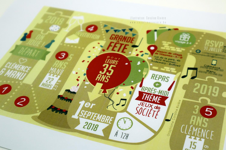 carte invitation anniversaire plateau de jeu jeu de l oie grande fete 35 ans