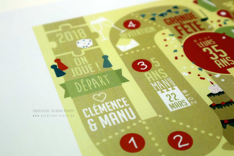 carte invitation fete anniversaire 35 ans theme jeux de societe