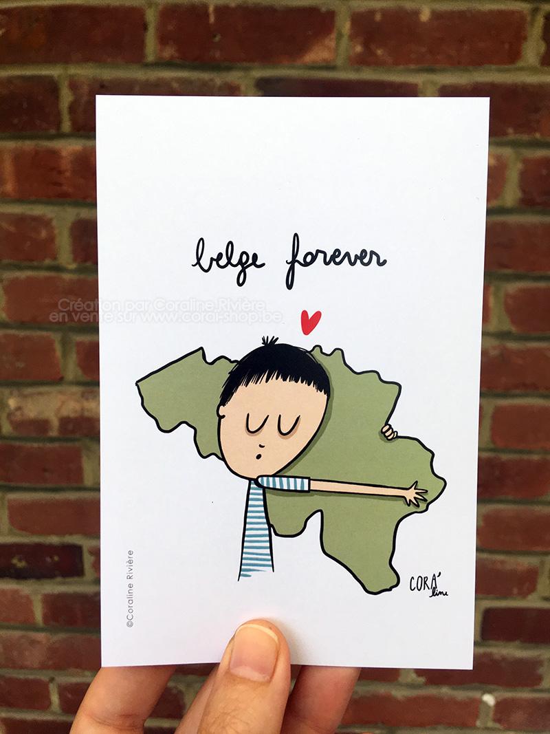 carte postale belge forever illustration poetique Belgique