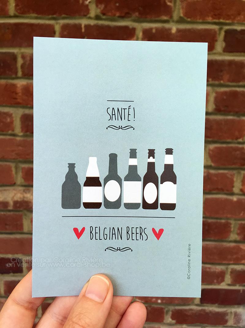 carte postale belgian beers bieres belges