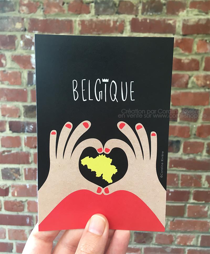 carte postale belgique coeur avec les mains noir jaune rouge