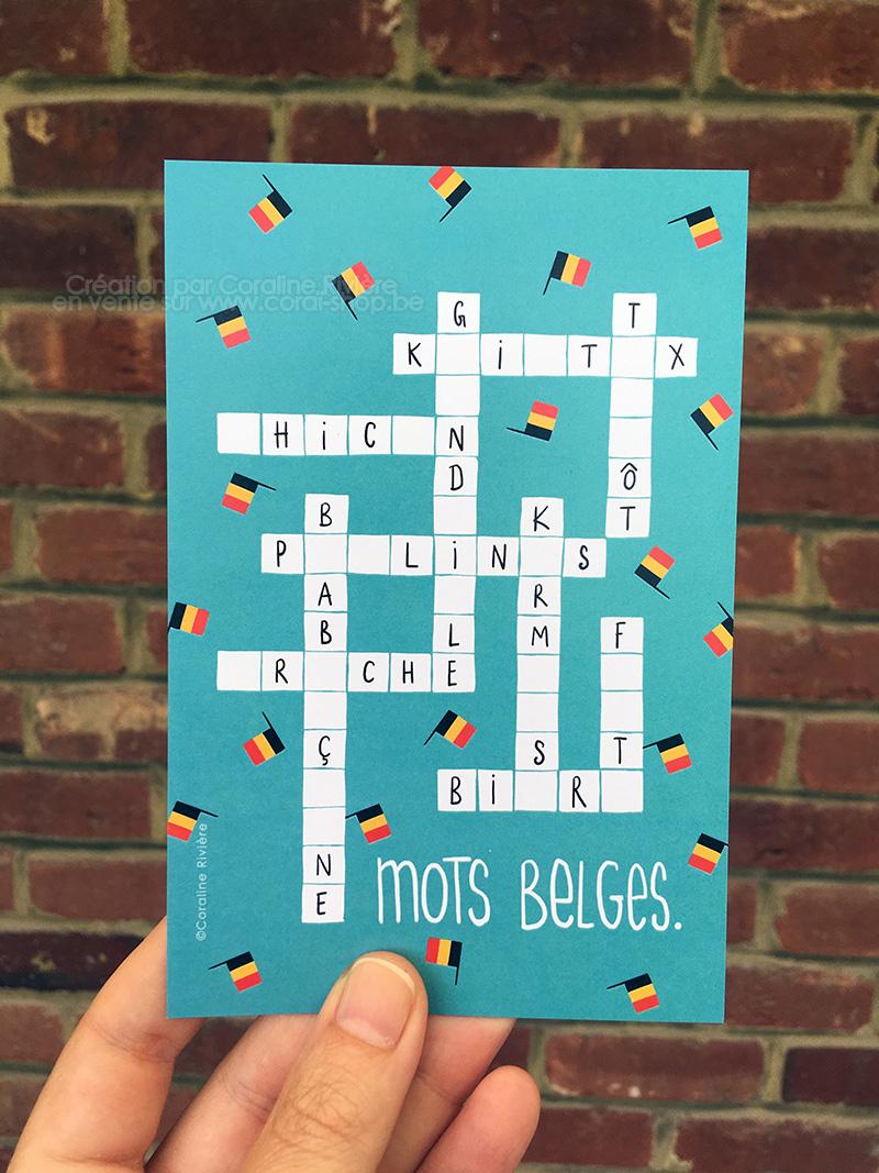 carte postale belgique mots croises fleches mots belges humour