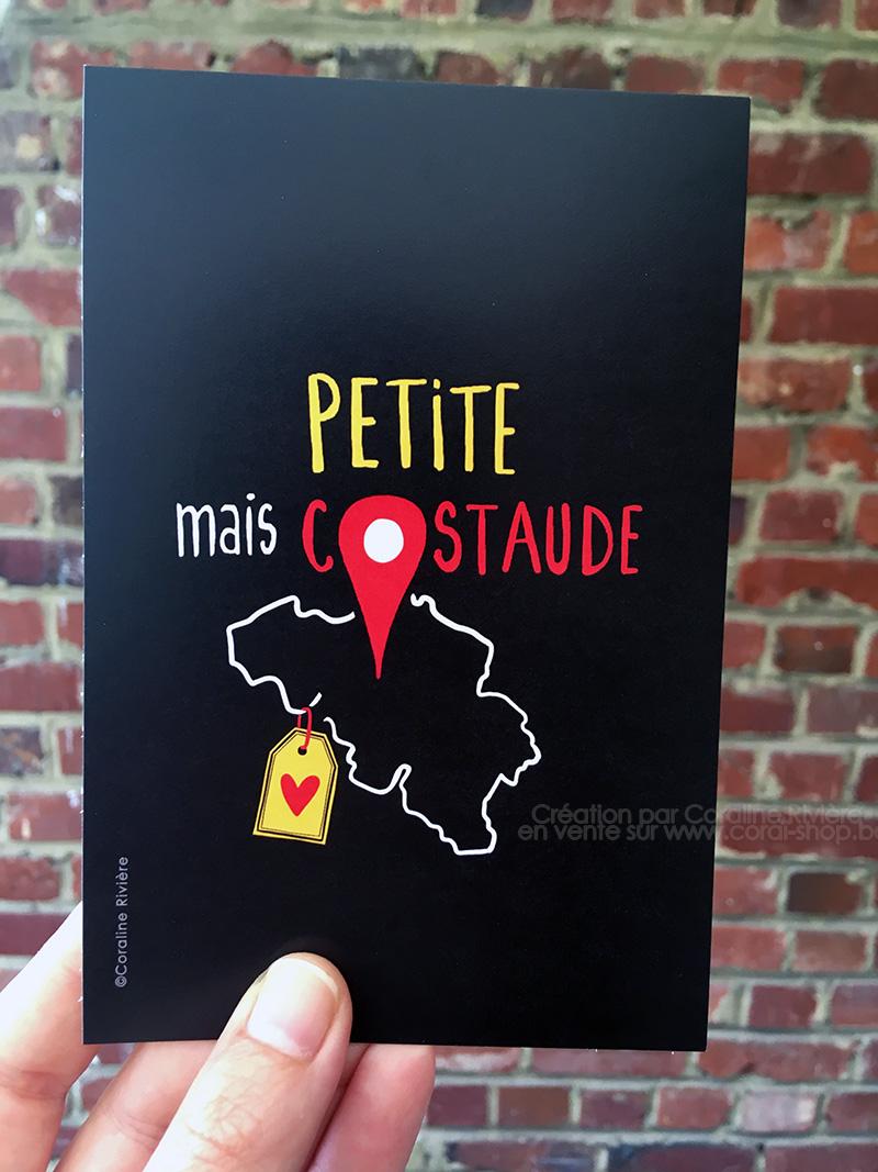 carte postale belgique petite mais costaude noir jaune rouge graphisme original