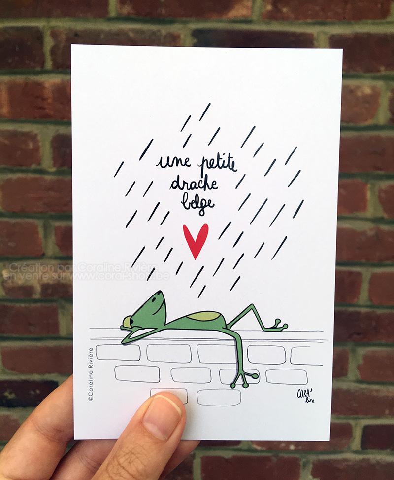 carte postale belgique une petite drache belge illustration grenouille
