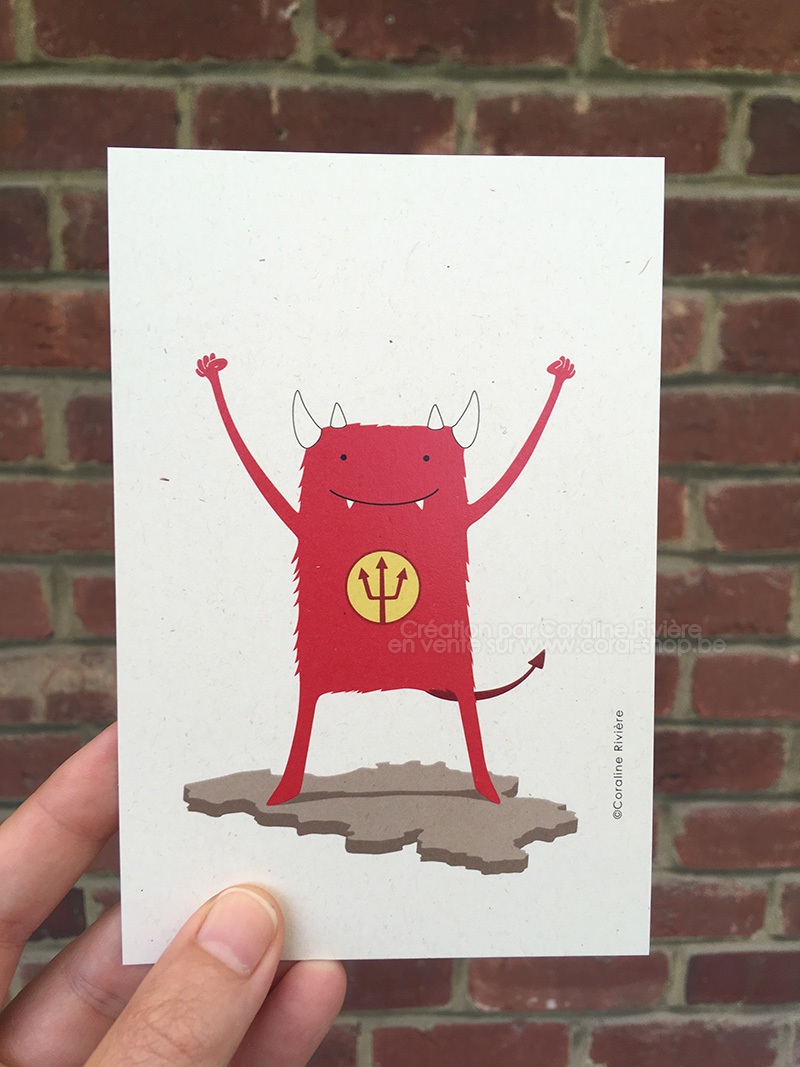 carte postale diables rouges football foot belgique red devils dessin illustration Belgique unie
