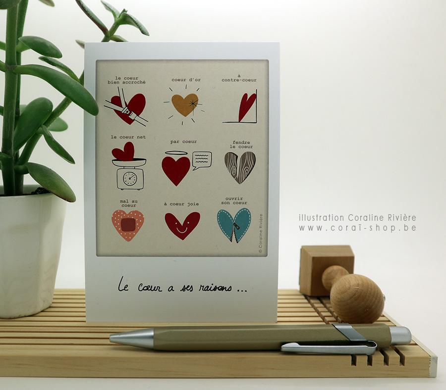 carte postale expression francaise phrase coeur le coeur a se raisons carte amour saint valentin amitie