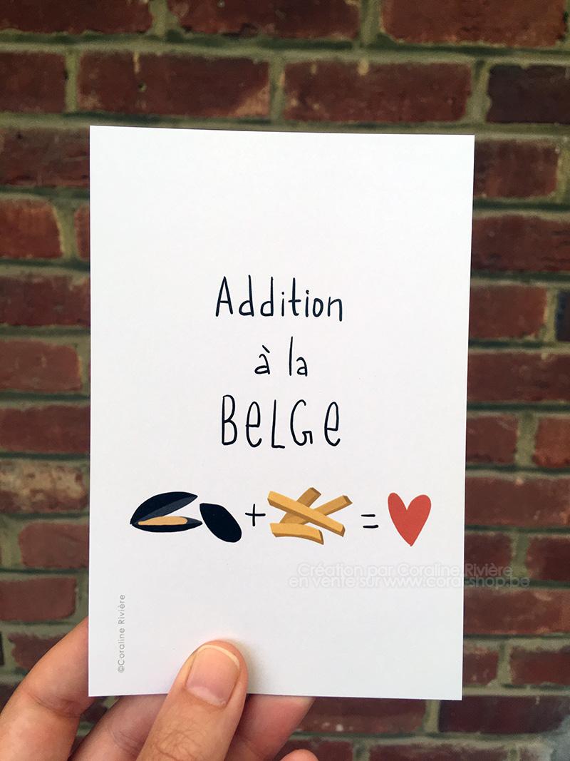 carte postale humour belge belgique moules frites illustration