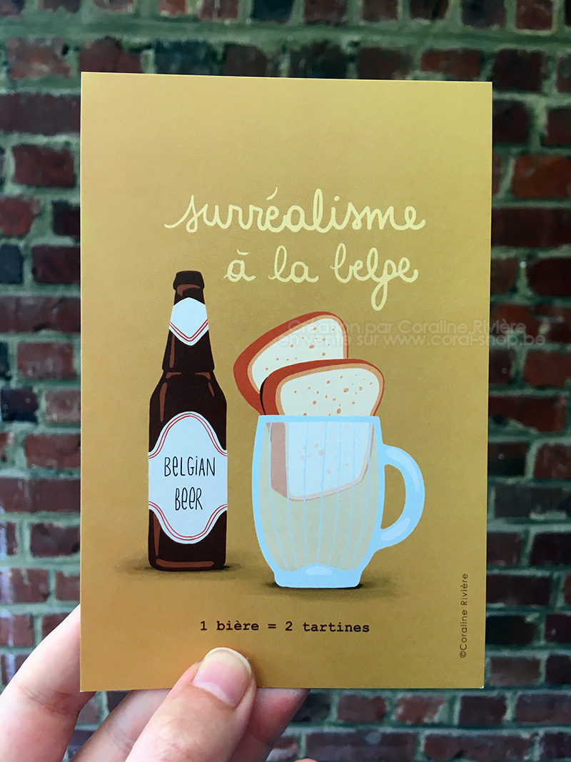 carte postale humour belge une biere deux tartines