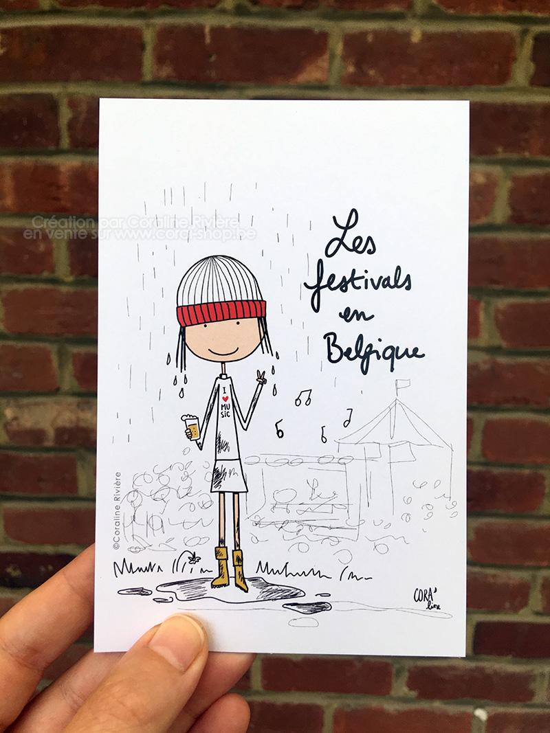 carte postale humour pluie festival en Belgique