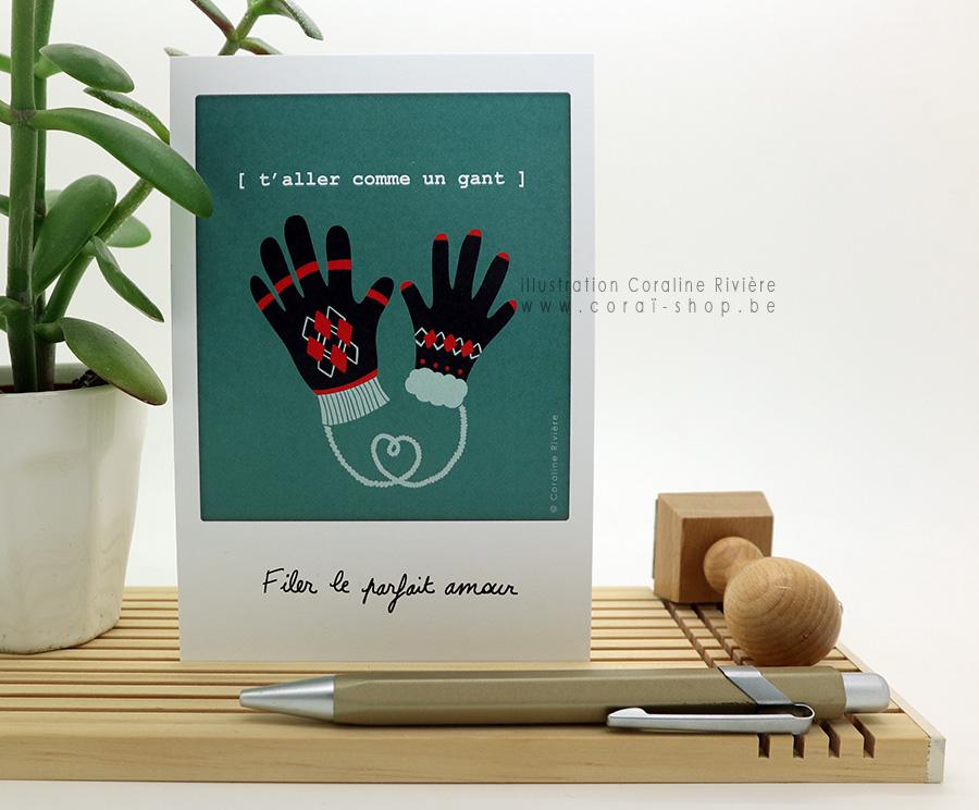 carte postale phrase expression t aller comme un gant filer le parfait amour