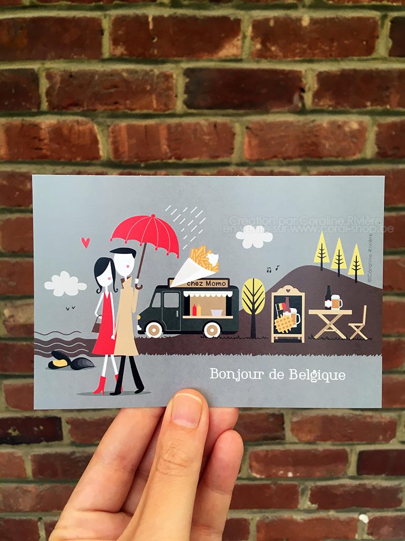 carte postale vivre en belgique illustration paysage belges et coutumes belges