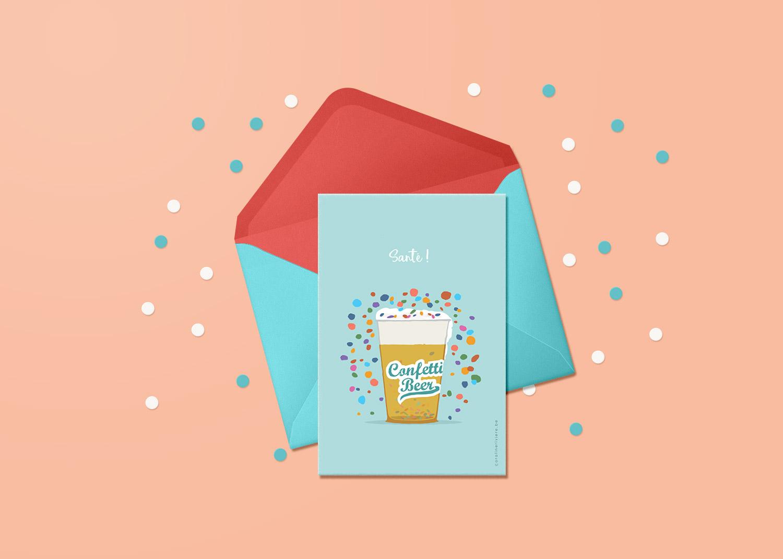carte theme carnaval fete confettis dans biere