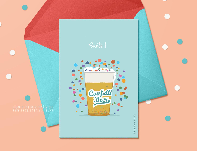 carte theme carnaval fete confettis dans biere2
