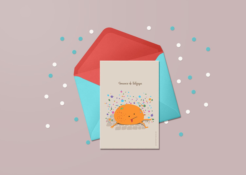 carte theme carnaval gilles binche orange confetti fete
