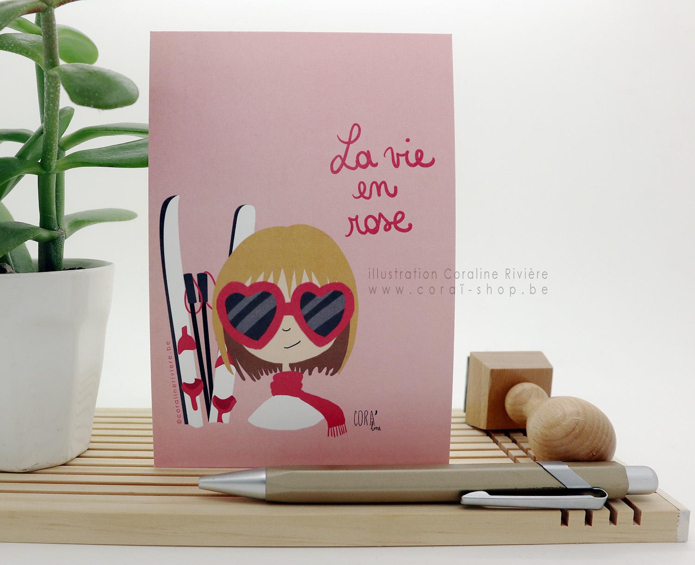 carte voeux nouvel an ski neige la vie en rose amour coeur saint valentin