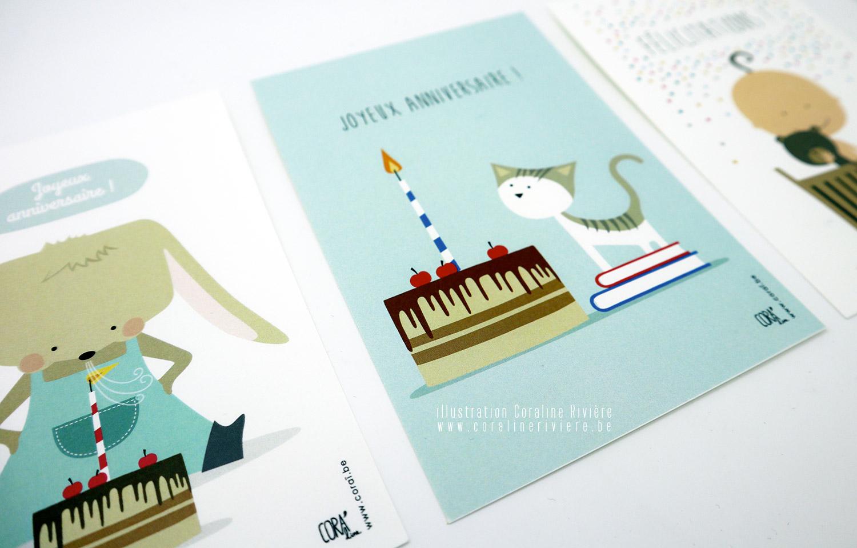 cartes anniversaire souhait illustratrice belge coraline riviere