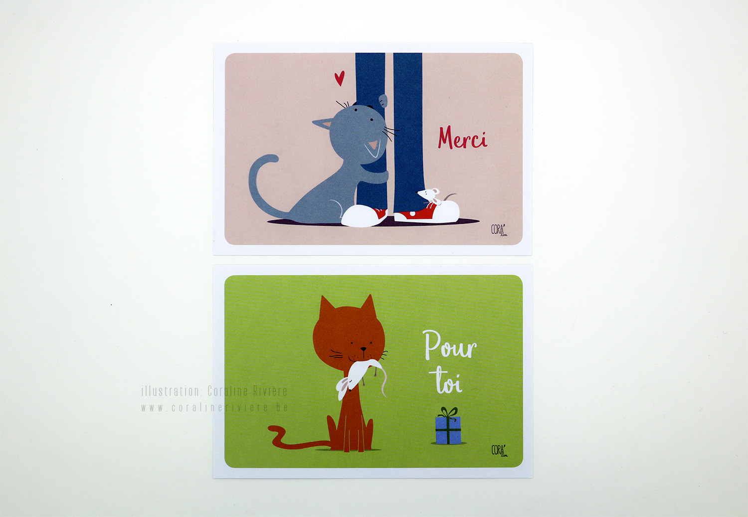 cartes chat merci cadeau messages dessin chat souris illustration