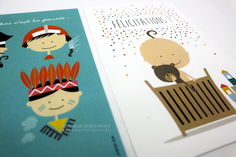 cartes felicitations naissance illustration couleurs original