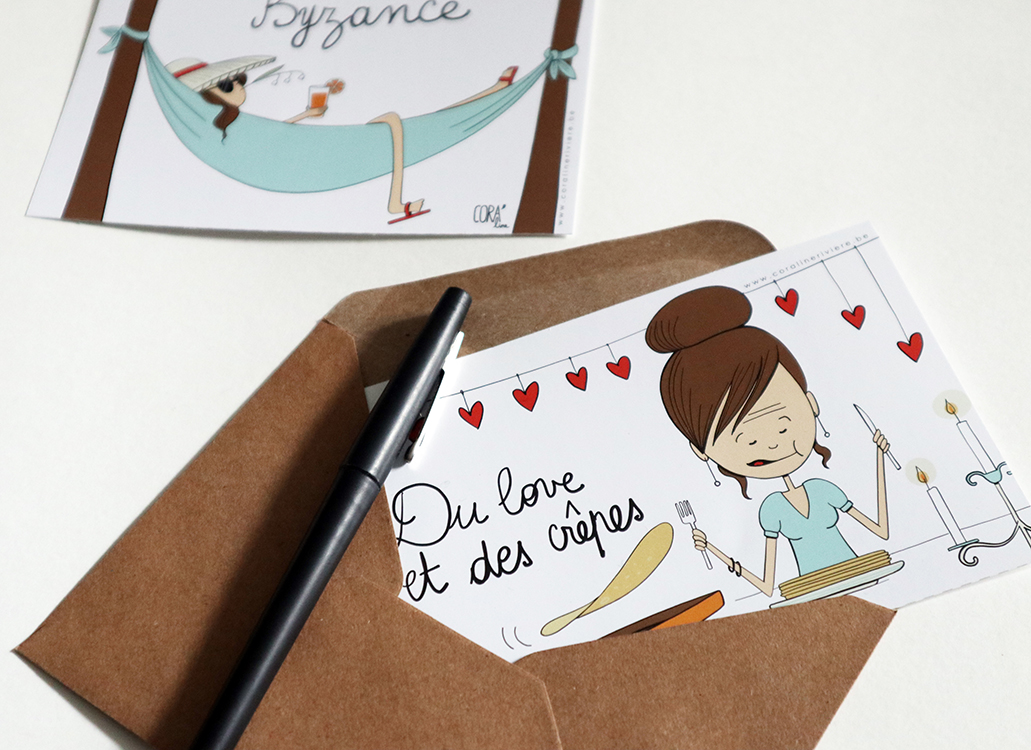 cartes postales dessin humour illustratrice belge coraline riviere